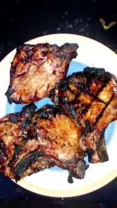marinated, grilled pork chops